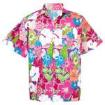Hawaiian Shirt Aloha Cotton Colorful Flower Leisure Beach Holiday Ha908v