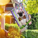 Pug. Happy Easter American Flag