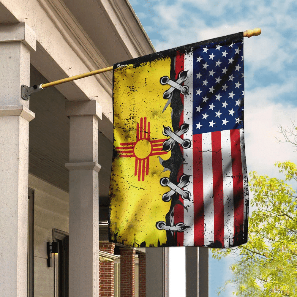New Mexico State and  America Flag