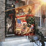 Golden Retriever Santa Paws Merry Christmas Flag