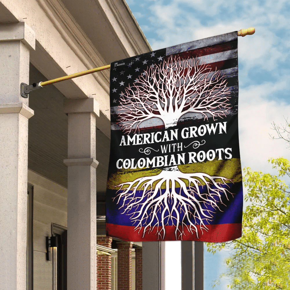 American Grown With Colombian Roots Flag