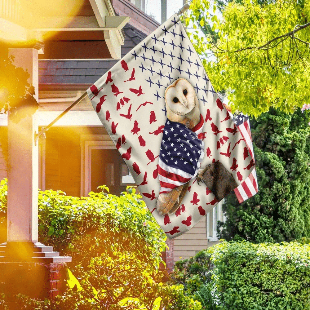 Owl Wrapped In American Flag