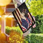 Chocolate And Yellow Labrador Retrievers American Patriot Flag