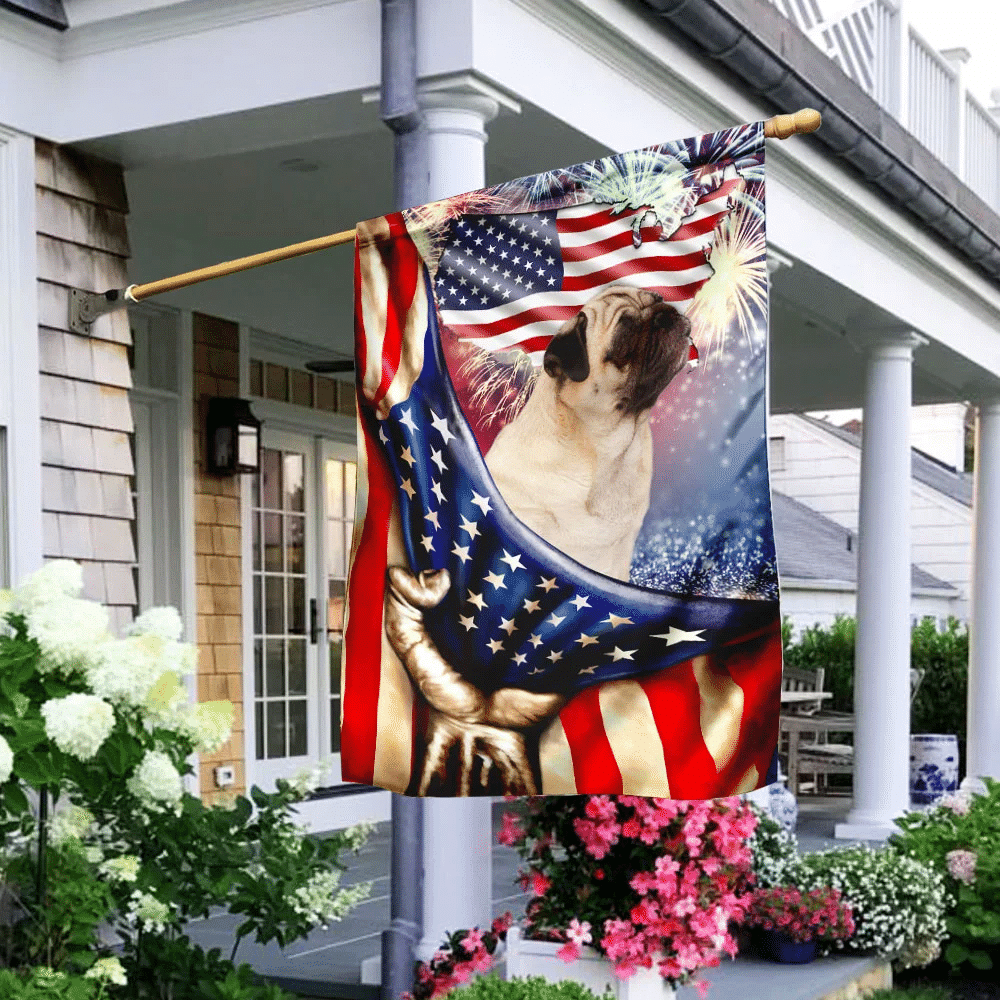 Happy Independence Day Pug Flag