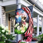 German Shepherd. Happy 4th Of July American Flag