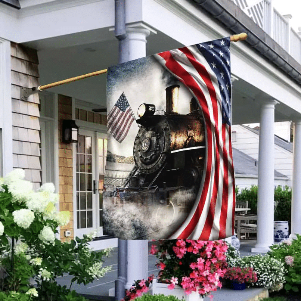 Old Time Vintage Steam Train American Flag THH3154F