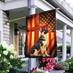 German Shepherd Jesus Cross American US Flag