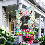 Black Labrador Happy Easter Flag