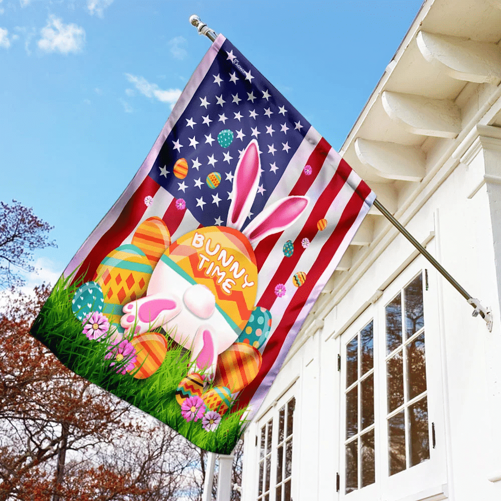 It's Bunny Time Easter American Flag