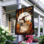 Pug Puppy Happy Halloween Flag