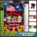 Personalized Red Truck With Dogs Happy 4th Of July Flag THH3147FCT