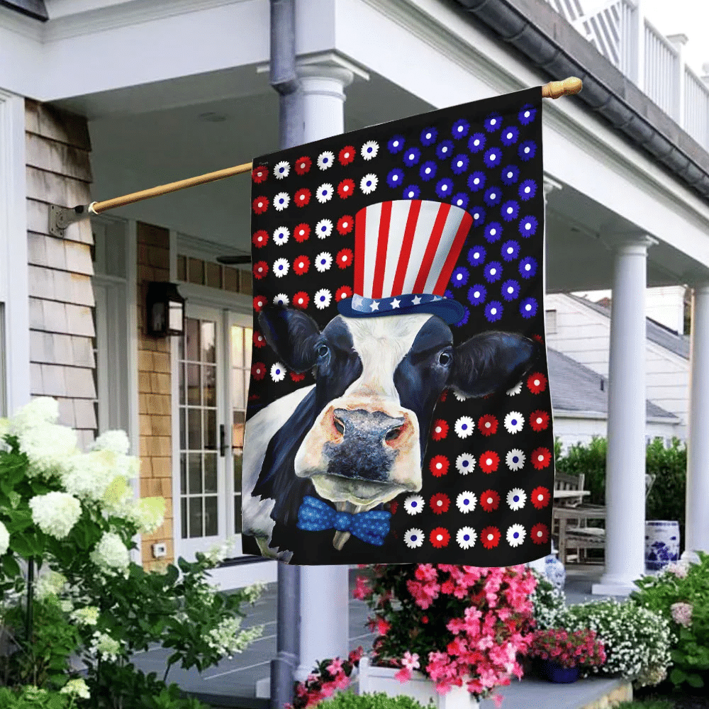 Happy Independence Day Cow Flag