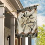 Music Is What Feelings Sound Like - Vintage Mandala Flag