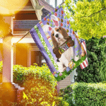 Puppy Beagle. Happy Easter American Flag