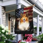 Rough collie Dog  American Flag
