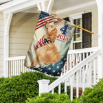 Golden Retriever. Happy 4th Of July American Flag