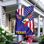 US State Texas Neanderthal Skull American Eagle Flag