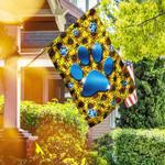 Dog Paws Sunflower Flag
