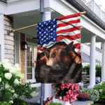 German Shepherd. American Patriot Flag