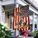 German Shepherd Under God American Flag