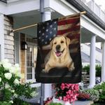 Yellow Labrador American Flag