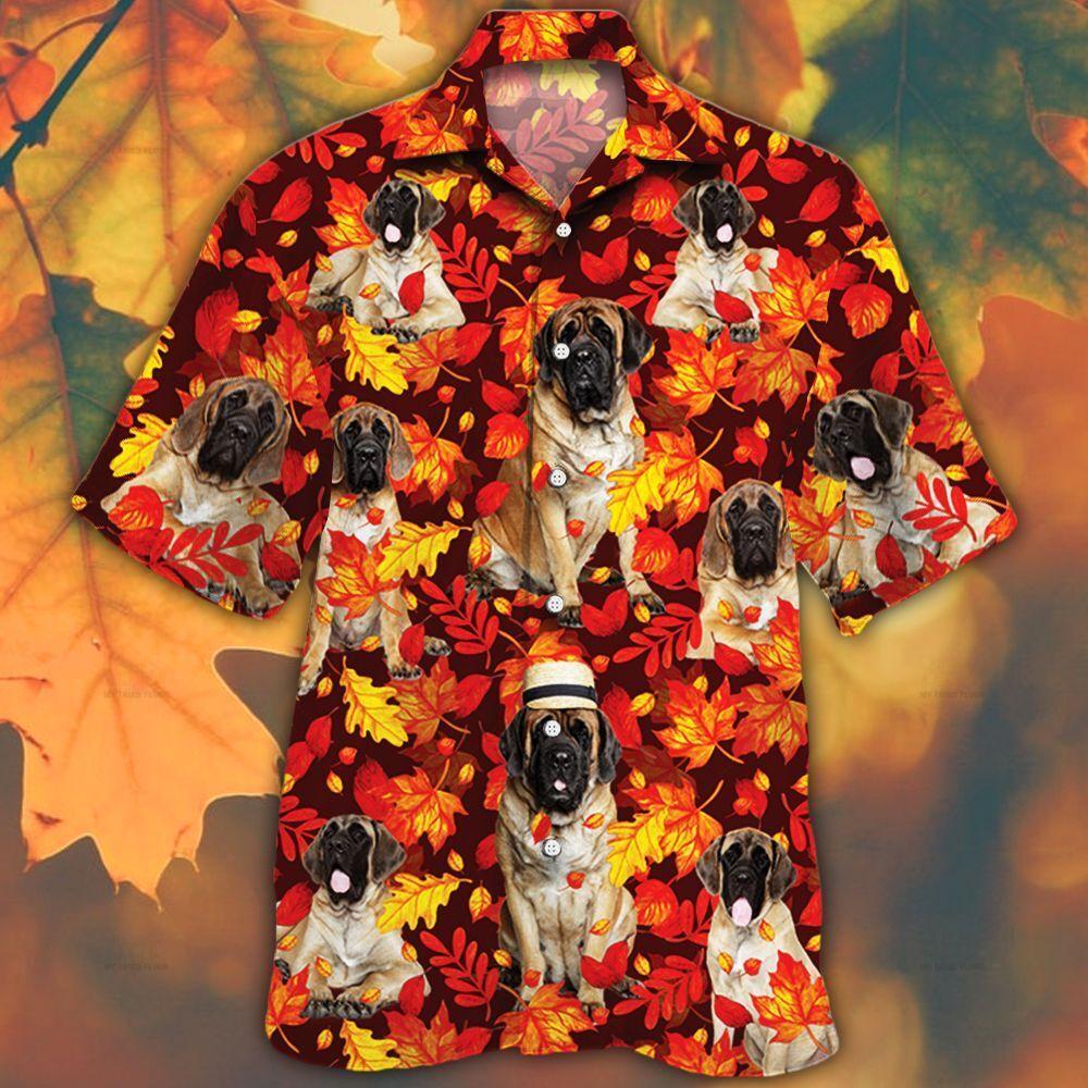 English Mastiff Autumn Red Leaves Hawaiian Shirt