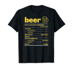 Funny Beer Nutrition Facts Label Thanksgiving Christmas Gift T-Shirt
