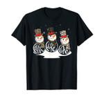 Faith Hope Love Leopard Print Snowman Christmas Pajama T-Shirt