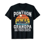 Mens Pontoon Grandpa Captain Retro Funny Boating Fathers Day Gift T-Shirt