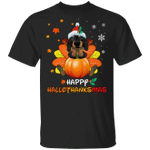 Dachshund Happy Hallothanksmas With Pumpkin T-Shirt Thanksgiving Gifts For Dachshund Lovers