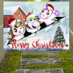 Unicorn Merry Christmas Yard Sign Outdoor Christmas Decorations Gift For Unicorn Lovers
