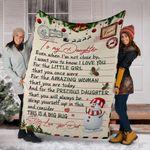 Snowman To My Daughter Fleece Blanket Love Letter Blanket Merry Christmas Gift For Daughter