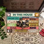 In This House We Are Yorkshire Rescuers Doormat Cute Outdoor Indoor Door Mat