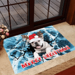 French Bulldog Merry Christmas 3D Doormat Funny Dog Ice Crack Doormat House Decor Seasonal Gifts