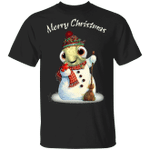 Turtle Merry Christmas Shirt Funny Snowman Red Scarf Printed Tee Xmas Gift For Turtle Lover