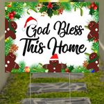 God Bless This Home Christmas Yard Sign Family Outdoor Christmas Sign Decoration