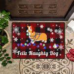 Feliz Naughty Dog Corgi Doormat Buffalo Plaid Doormat Xmas Decor Indoor Gift For Corgi Lover