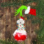 Poodle Green Hand With Ornament Funny Dog With Santa Hat Christmas Ornament Sets Dog Lover