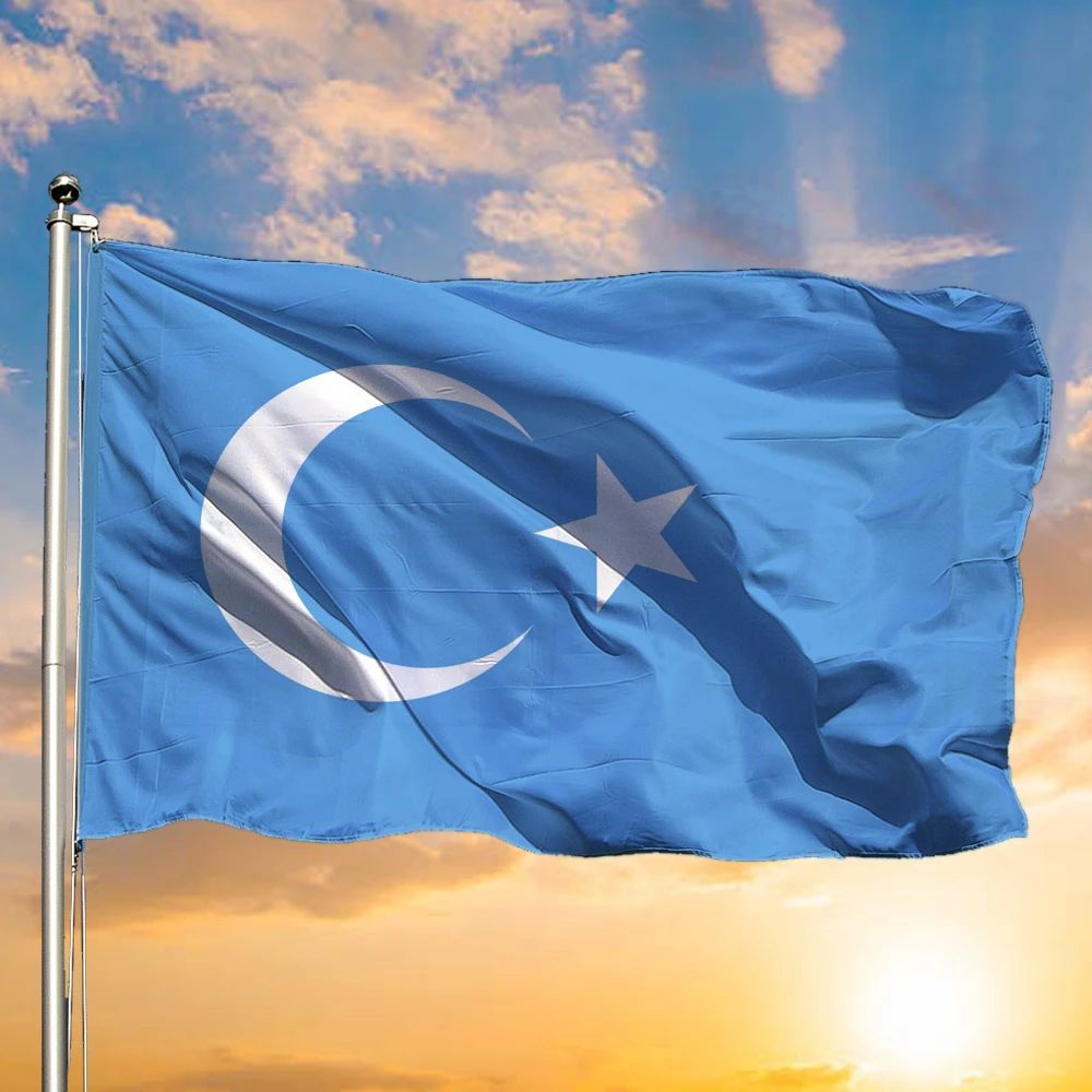 The East Turkestan Flag Light Blue Flag With White Star And Moon For Sale