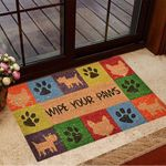 Wipe Your Paws Doormat Funny Paws With Dogs Colorful Door Mat Birthday Gifts For Dog Owners