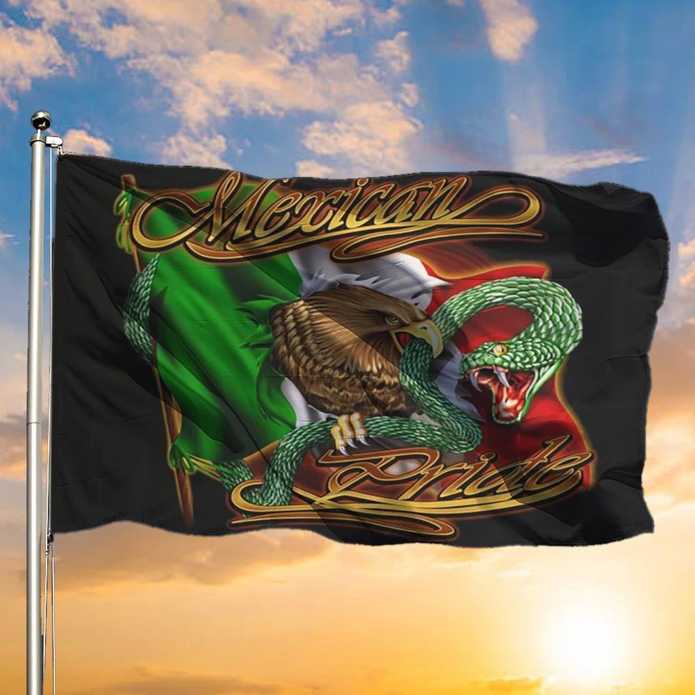 Mexican Pride Flag National Mexico Coat Arms With Eagle & Snake Flag For Yard Mexican Gifts