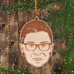 RBG Christmas Ornament Ruth Bader Ginsburg Ornament White Flocked Christmas Tree Decorate Idea