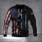 Thin Blue Line And U.S Flag Hoodie Old Retro 3D Print Honor Our Law Enforcement Police Officer