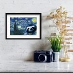 Sloth The Starry Night by Vincent Van Gogh Framed Art Print Wall Decor Gift For Sloth Lover