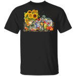 Dinosaur T-Rex Autumn Leaves T-Shirt Sunflower Autumn Shirt Unique Gifts Family For Festival