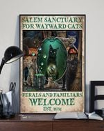 Salem Sanctuary For Wayward Cats Welcome Print Poster Gift For Cat Lover Wall Art Home Decor