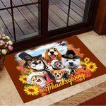 Pilgrim And Indian Dog Selfie Doormat Adorable Animal Thanksgiving Doormat Gifts For Pet Lovers