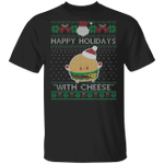 Happy Holidays With Cheese Shirt Christmas Cheeseburger T-Shirt Funny Cheese Gifts