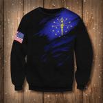 Indiana State Flag Sweatshirt Indiana Flag - American Flag Logo Sweater Patriotic Gift