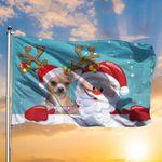 Chihuahua Santa Claus Merry Christmas Flag Christmas Living Room Decor Xmas Gift For Parents